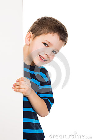 Free Boy Peek Out From Vertical White Banner Stock Photos - 38298123