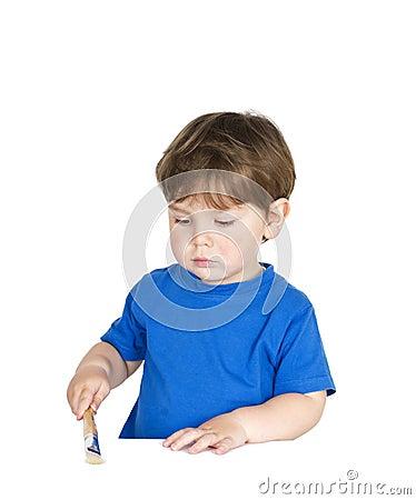 Boy with a pencil.