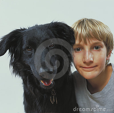 Boy with pet dog