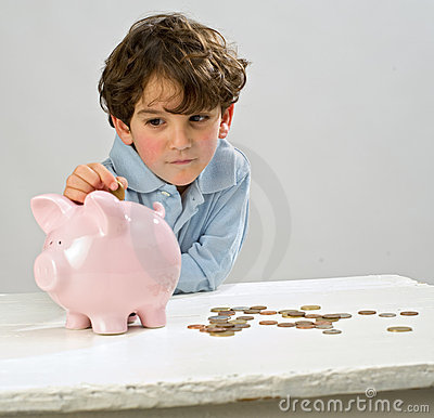 Free Boy Piggy Bank Royalty Free Stock Image - 8213996