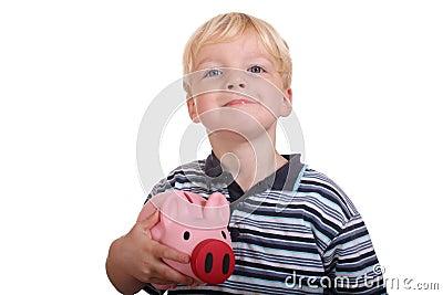 Boy with piggybank