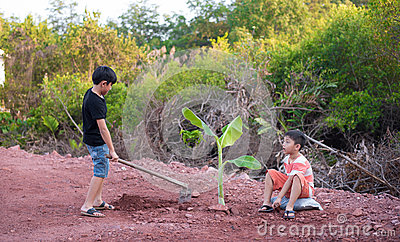 Boy plant tree stock photo image 69614044 for Digging ground dream meaning
