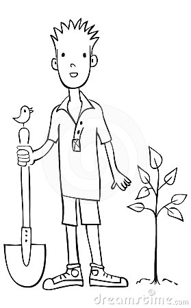 Boy planting tree vector illustration