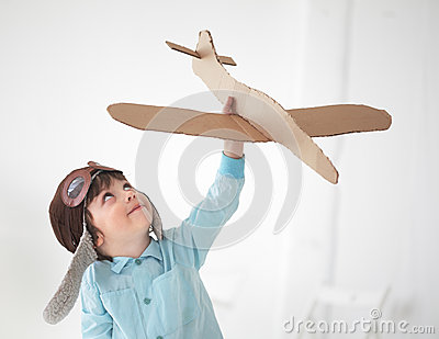 Boy play in airplane