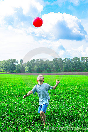 Boy play with ball