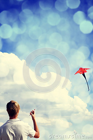 Boy play with fly kite.