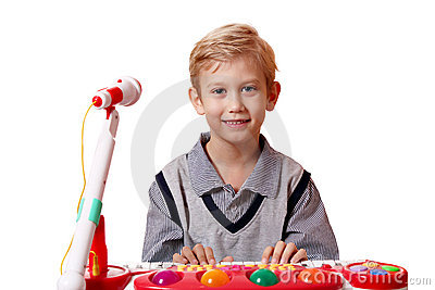 Boy play music