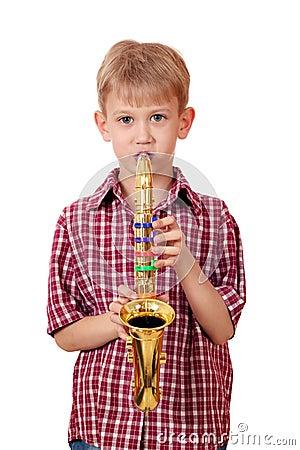 Free Boy Play Music On Saxophone Stock Photos - 29378493