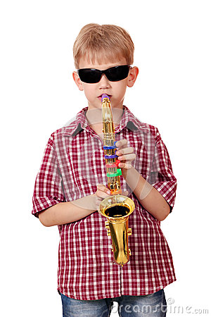 Boy play saxophone