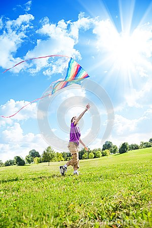 Free Boy Play With Kite Royalty Free Stock Photo - 33995985