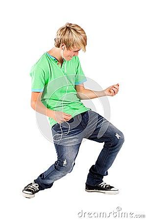 Boy playing air guitar