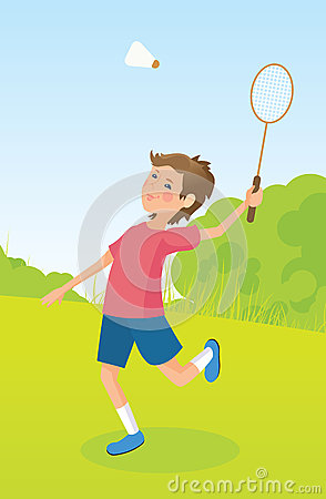 Boy playing badminton