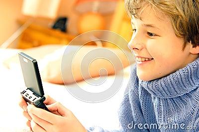 Boy playing computer game