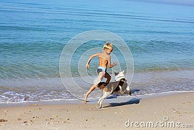 Boy playing dog