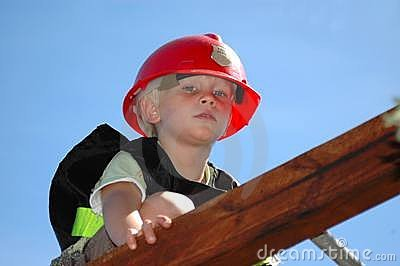 Boy playing firefighter