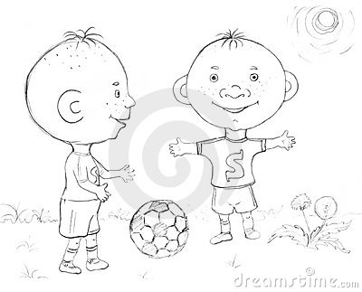 Boy Playing Football Sketch Royalty Free Stock Photo
