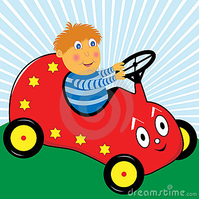 Boy Playing in his Cartoon Car