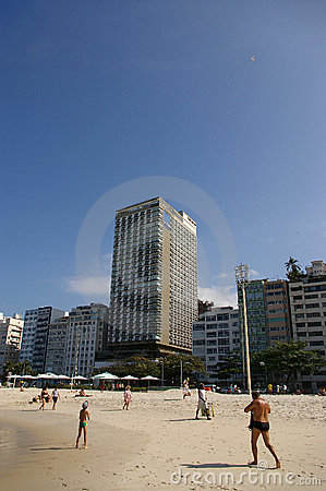A boy playing with kite on Copacabana beach Editorial Photography