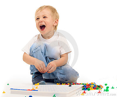 Boy playing and laughing