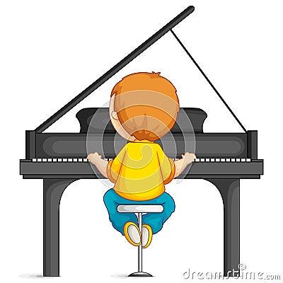 Free Boy Playing Piano Stock Image - 26346881
