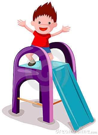 Boy playing on the slide