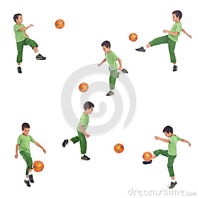 Boy playing soccer - various angle shots