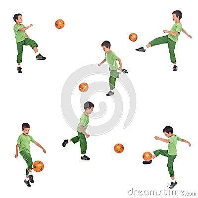 Boy playing soccer - various angle shots