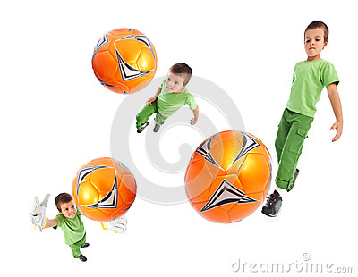 Boy playing soccer - wide angle shots
