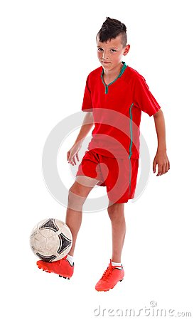 Boy playing with soccerball