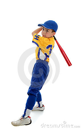 Boy playing sport baseball or softball