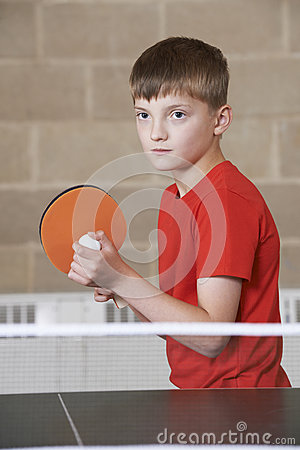 Free Boy Playing Table Tennis In School Gym Royalty Free Stock Photo - 57915845