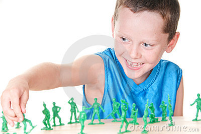 Boy playing war