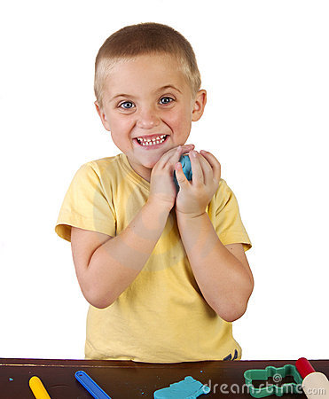Free Boy Playing With Playdough Stock Images - 23288244