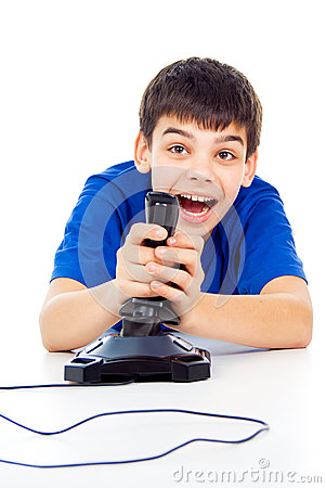 Boy plays games on the joystick