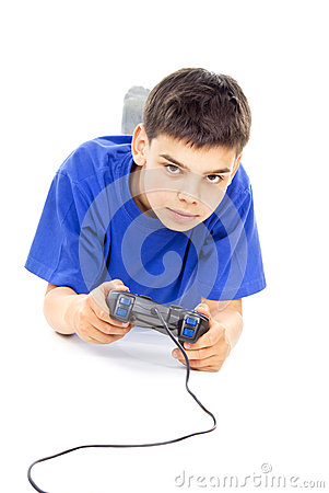 Boy plays on the joystick