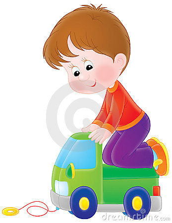 Boy plays with a toy car