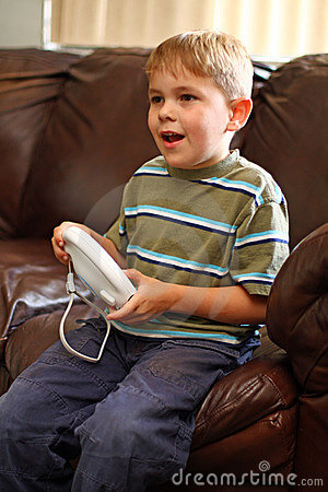 Boy plays video game