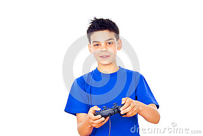 Boy plays video games