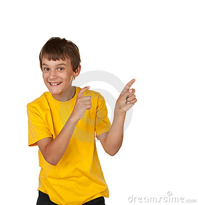Boy pointing to copyspace