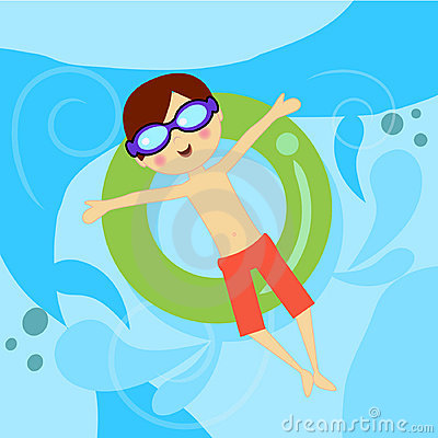 Boy in pool with tube