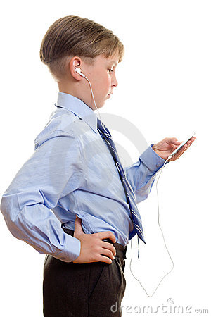 Boy with portable music player