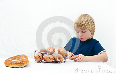 Boy with potatoes
