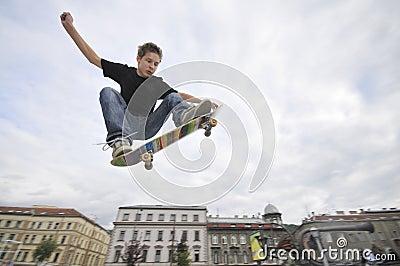 Boy practicing skateboarding