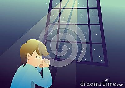 boy praying at night to god