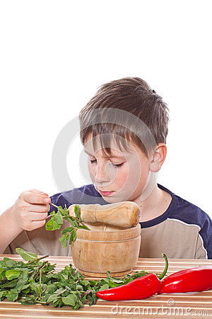 Boy preparing breakfast
