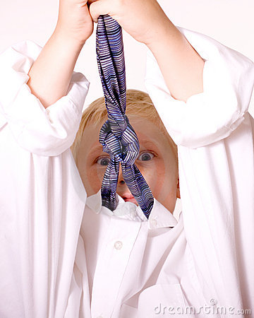 Boy Pretends to be Grown-up Angry with Necktie