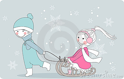 Boy pulls girl on sleigh
