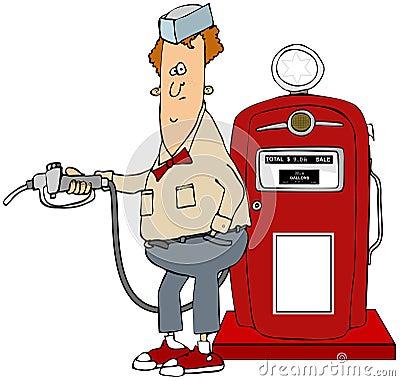 Boy pumping gas from a retro pump