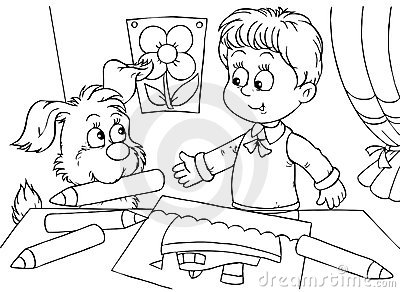 Boy and pup draw