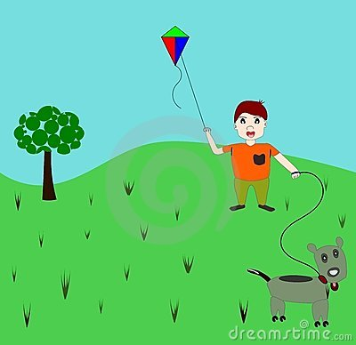 Boy and Puppy with Kite